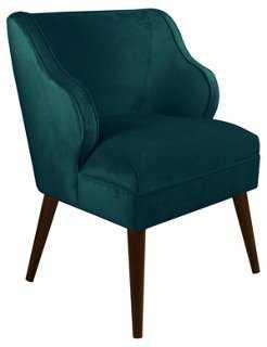Kira Accent Chair, Peacock Velvet - One Kings Lane