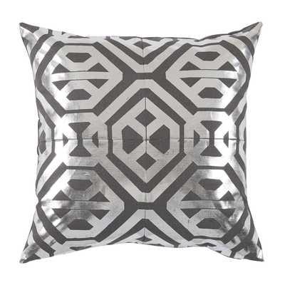 Isabella Nickel Foil 20×20 Pillow - Down Insert - lacefielddesigns.com