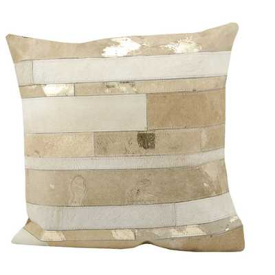 "Natural 20""sq. Beige Leather Throw Pillow - Polyester/Polyfill - AllModern"