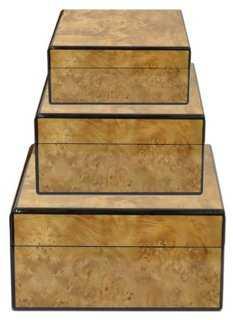 Asst. of 3 Black Trim Boxes - One Kings Lane