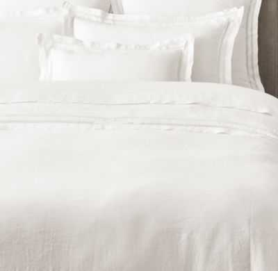 BELGIAN LINEN VINTAGE HEMSTITCH DUVET COVER - Full/Queen	 - White - RH