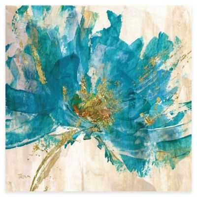 Contemporary Teal Flower II Canvas Wall Art - Bed Bath & Beyond