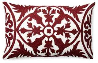 Kajal 14x20 Embroidered Pillow, Burgundy - One Kings Lane