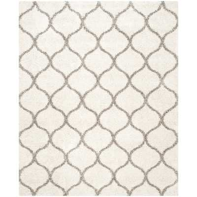 Safavieh Hudson Ogee Shag Ivory Background and Grey Rug - Overstock