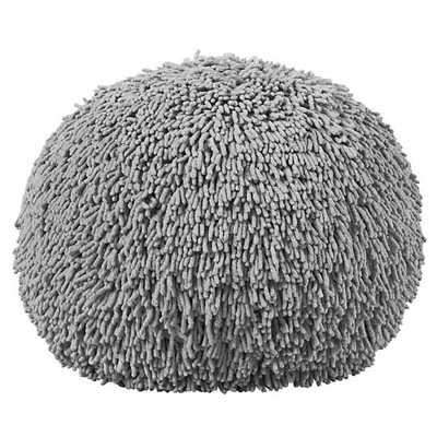 Grey Shaggy Pouf - Land of Nod