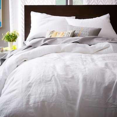 Belgian Flax Linen Duvet Cover - Full/Queen - White - West Elm