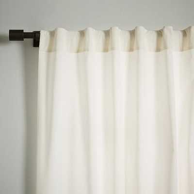 "Velvet Pole Pocket Curtain - Ivory, 96"" - West Elm"