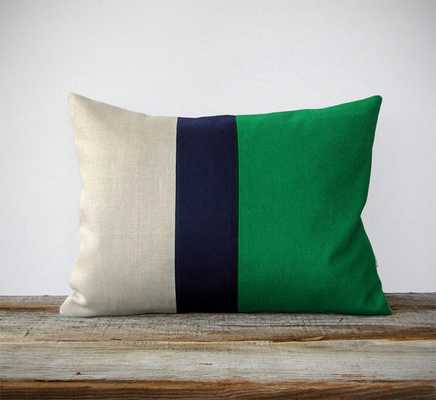 "Color Block Stripe Pillow in Kelly Green, Navy and Linen-16""x20""-No Insert - Etsy"