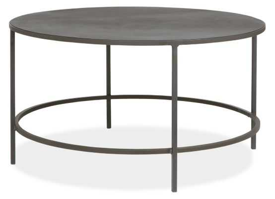 Slim Round Cocktail Table in Natural Steel - Room & Board