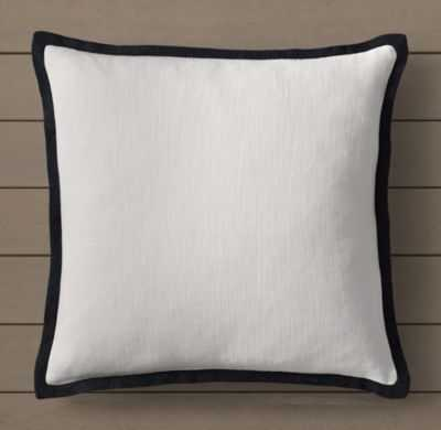 BELIZE FLAT PIPED PILLOW COVER - BLACK - RH