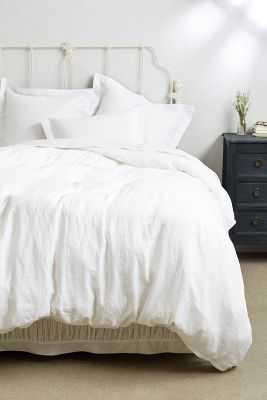 Soft-Washed Linen Duvet - White - Queen - Anthropologie