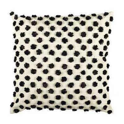 Parker Pom Pom Raffia Pillow  - Black - feather/down insert - Ballard Designs
