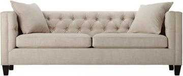 Lakewood Tufted Sofa - Long - Linen Pearl - Home Decorators