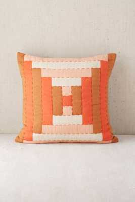"Quilted Blocks Rust 18"" SQ Pillow-with insert - Urban Outfitters"