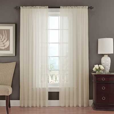 Textured Chiffon Single Curtain Panel - Ivory, 84x52 - AllModern