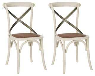 White Bonnie Dining Chairs, Pair - One Kings Lane