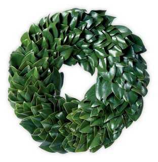 Green Magnolia Wreath, Dried - One Kings Lane