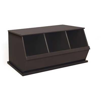 Three Bin Stackable Storage Cubby in Espresso - Overstock
