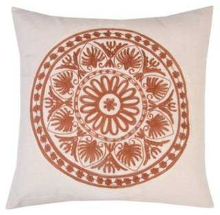 Motif 20x20 Embroidered Pillow, Brown-20x20 -feather  insert - One Kings Lane