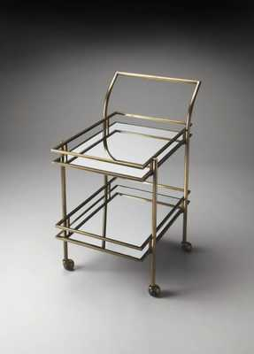 Butler Loft Retro Gold Metal Glass Bar Cart - theclassyhome.com