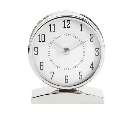 Chrome Clock on Stand - White - Pottery Barn