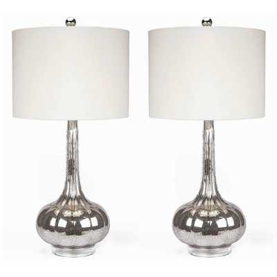 """Michelle Antiqued 28"""" H Table Lamp with Drum Shade - AllModern"""