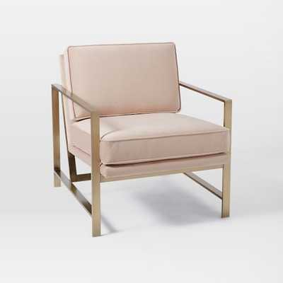 Metal Frame Upholstered Chair - Luster Velvet, Dusty Blush - West Elm
