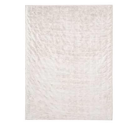 "Ruched Faux Fur Throw - 50"" x 60""- Ivory - Pottery Barn"