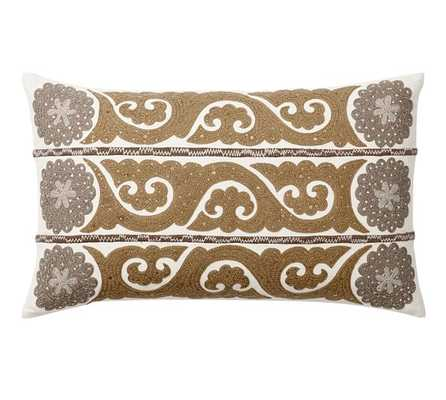 Wilhelmina Embroidered Suzani Pillow Cover-Natural-16x26-Insert Sold Separately - Pottery Barn