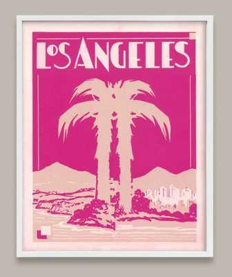 "Art Deco Los Angeles Print Pink-14""x11""-White Frame - Domino"