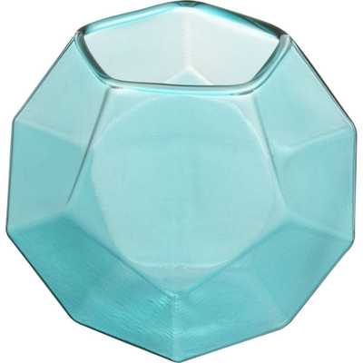 Aqua Glass Candleholder - Domino