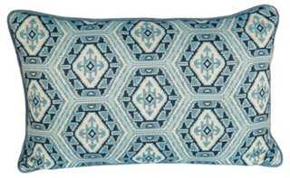 Blue Medallion Embroidered Ikat Pillow - One Kings Lane
