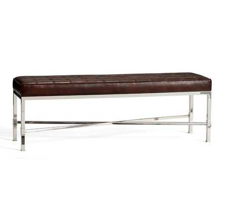 QUINN TUFTED LEATHER BENCH - Pottery Barn