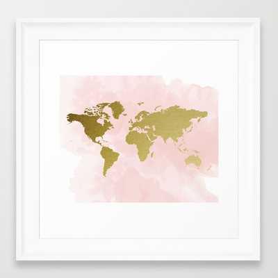 """Gold World Map Poster - FRAMED ART PRINT/ SCOOP WHITE MINI (12"""" X 12"""") - Society6"""