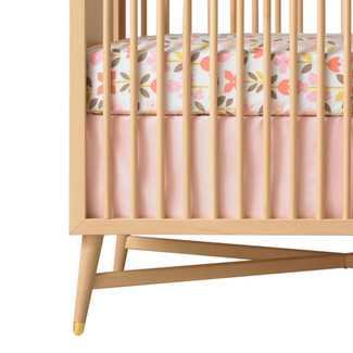 DwellStudio Rosette Solid Pink Canvas Crib Skirt - Wayfair