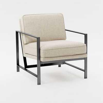 Metal Frame Upholstered Chair - Twill, Stone + Burnished Bronze Frame - West Elm