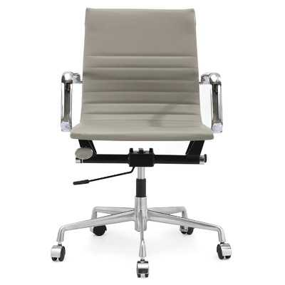 Vegan Leather Mid-Back Office Chair with Arms - Wayfair