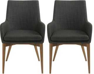 Charcoal Calais Armchairs, Pair - One Kings Lane
