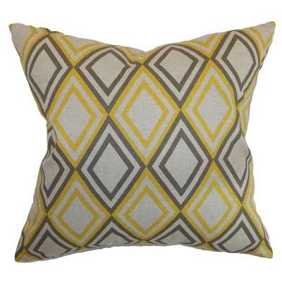 Eirunepe Geometric Yellow Kelp Linen Feather Filled 18-inch Throw Pillow - Overstock