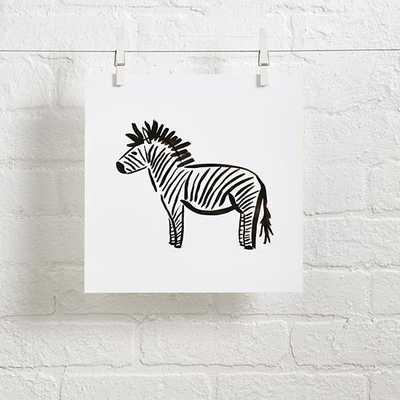 """Zebra Linda and Harriett Wall Art - 11""""Wx11""""H - Unframed - Land of Nod"""