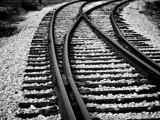 "Train Tracks Photo, Black and White Industrial Decor - 16"" x 20"" - Unframed - Etsy"