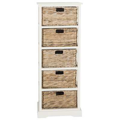 Vedette 5 Basket Storage Chest - Distressed White - Wayfair