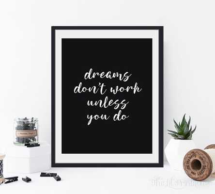 Dreams Don't Work Unless You Do Printable - Etsy