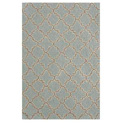 Hooked Plain Tin Slate Micro Geometric Area Rug - 5' x 8' - Wayfair