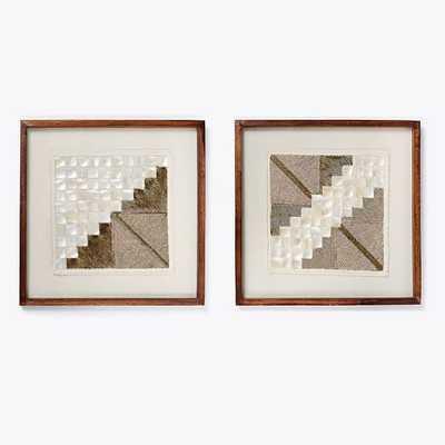 Framed Beaded Wall Art - Set of 2 - Gold - West Elm