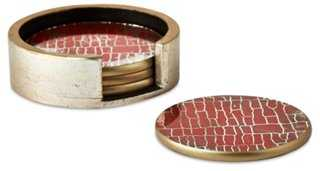 Asst. of 4 Coral Crackle Round Coasters - One Kings Lane