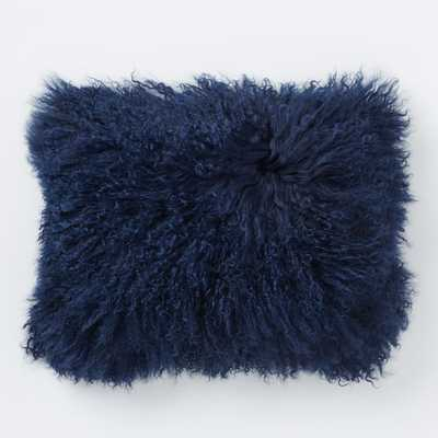 """Mongolian Lamb Pillow Cover - Velvet Ink (12"""" x 16"""") - Insert Sold Separately - West Elm"""