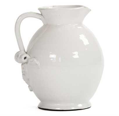 Tuscan White Ceramic Large Pitcher - Kathy Kuo Home