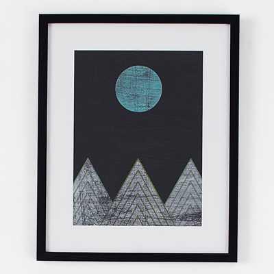 Blue Moon Over Mountains - Framed Print - West Elm