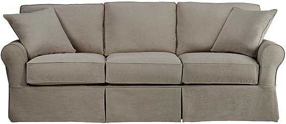 Mayfair Slipcovered Long Sofa - Classic Smoke - Home Decorators